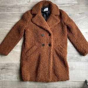 Zara warm brown stylish and comfortable teddy coat